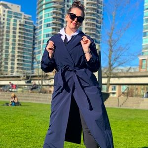 Outdoor Voice Oversized Navy Trench OS